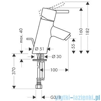Hansgrohe Talis S Jednouchwytowa bateria umywalkowa DN15 32020000