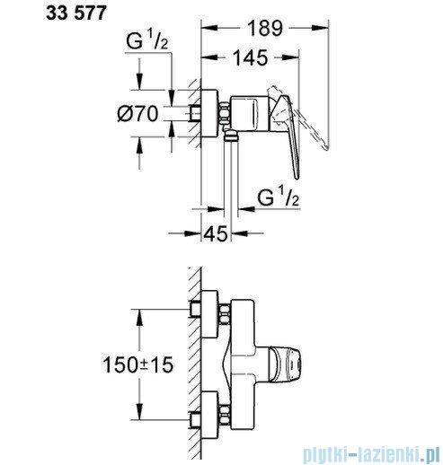 Grohe Europlus jednouchwytowa bateria prysznicowa 33577002