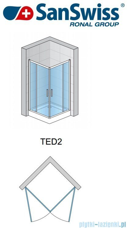 SanSwiss Top-Line Ted2 Wejście narożne 80cm profil srebrny Prawe TED2D08000107