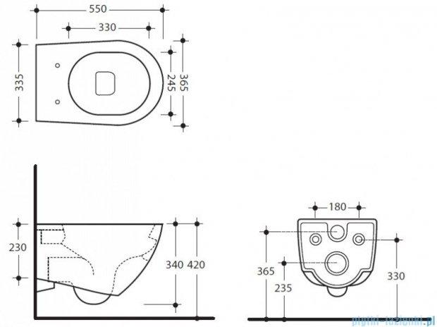 Kerasan Miska WC wisząca Aquatech 3715