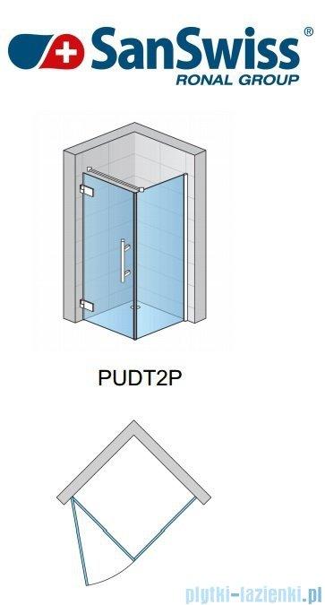 SanSwiss Pur PUDT2P Ścianka boczna 80cm profil chrom szkło przejrzyste PUDT2P0801007