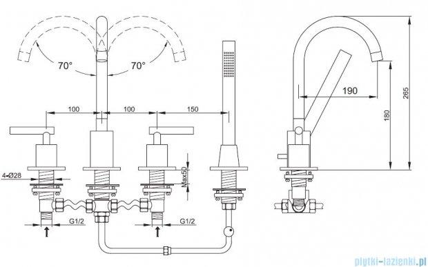 Kohlman Roxin 4-otworowa bateria wannowa QB240R