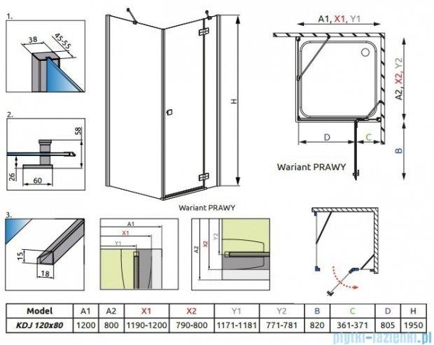 Radaway Almatea Kdj Gold kabina prysznicowa 120x80 prawa szkło przejrzyste 32141-09-01NR