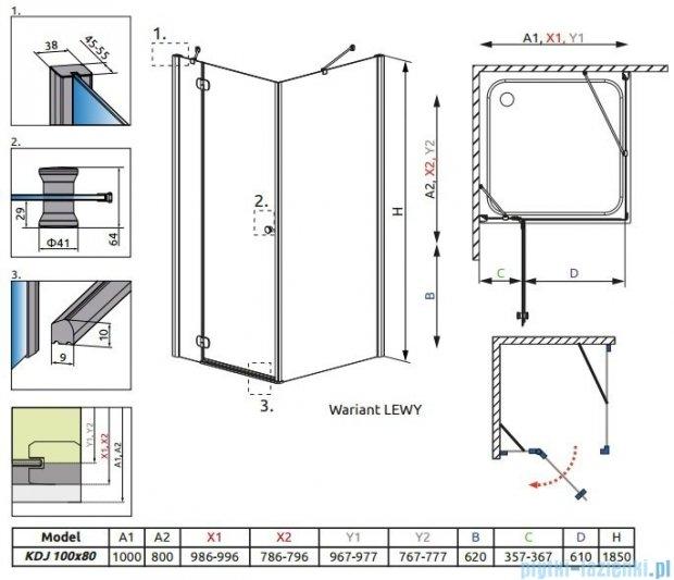 Radaway Torrenta Kdj kabina 100x80 lewa szkło grafitowe + Brodzik Doros D + syfon 32242-01-05NL