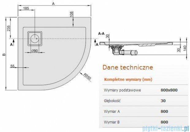 Sanplast Brodzik półokrągły Space Line 80x80x3cm + syfon 615-110-0320-01-000