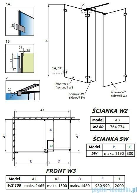 Radaway Euphoria Walk-in III kabina 100x80cm szkło przejrzyste 383132-01-01/383120-01-01/383160-01-01