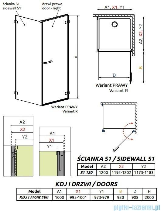 Radaway Arta Kdj I kabina 100x120cm prawa szkło przejrzyste 386083-03-01R/386024-03-01