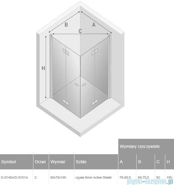 New Trendy New Soleo 80x70x195 cm kabina prostokątna przejrzyste D-0148A/D-0151A