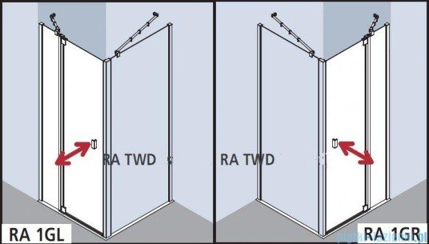 Kermi Raya Drzwi wahadłowe, 1-skrzydłowe, z polem stałym, lewe/przezroczyste KermiClean, profile srebrne 75x200 RA1GL07520VPK