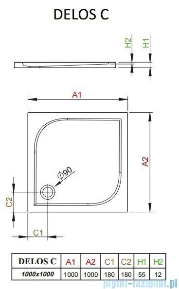 Radaway Brodzik kwadratowy Delos C 100x100 SDC1010-01