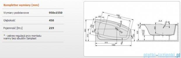 Sanplast Free Line Wanna asymetryczna prawa+stelaż WAP/FREE 155x95+ST26, 610-040-0770-01-000