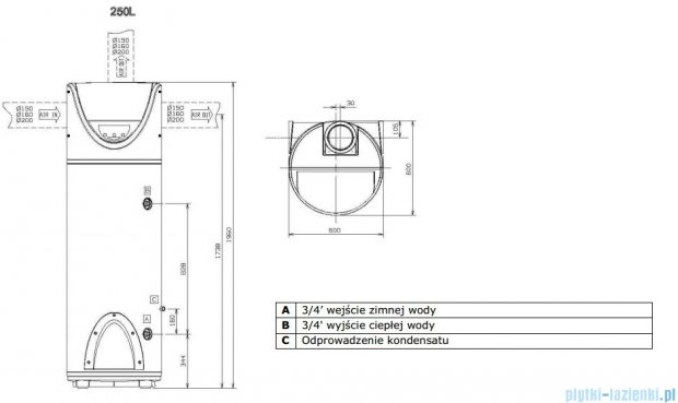 Ariston stojąca pompa ciepła do podgrzewania wody 250 Nuos FS 3210017