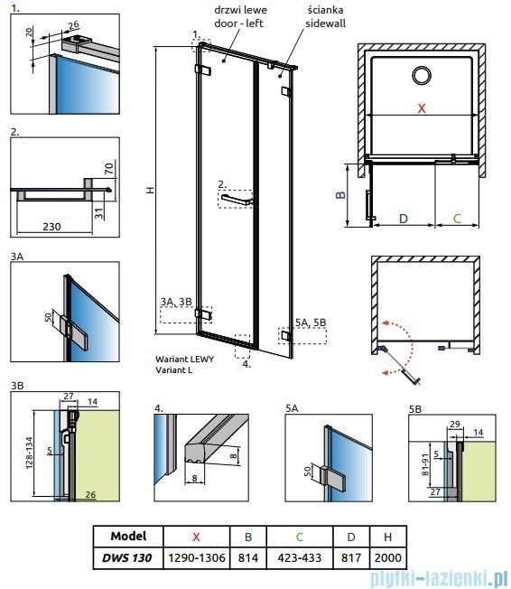 Radaway Arta Dws drzwi wnękowe 130cm lewe szkło przejrzyste 386828-03-01L/386092-03-01L