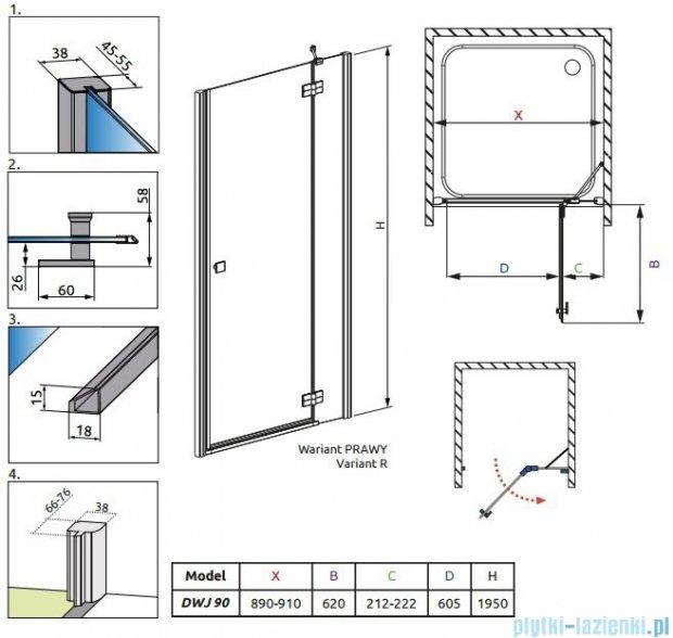 Radaway Almatea DWJ Drzwi wnękowe 90 Prawe szkło grafitowe + Brodzik Delos C 90 + syfon 31102-01-05N