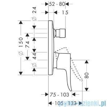 Hansgrohe Metris Jednouchwytowa bateria wannowa montaż podtynkowy 31493000