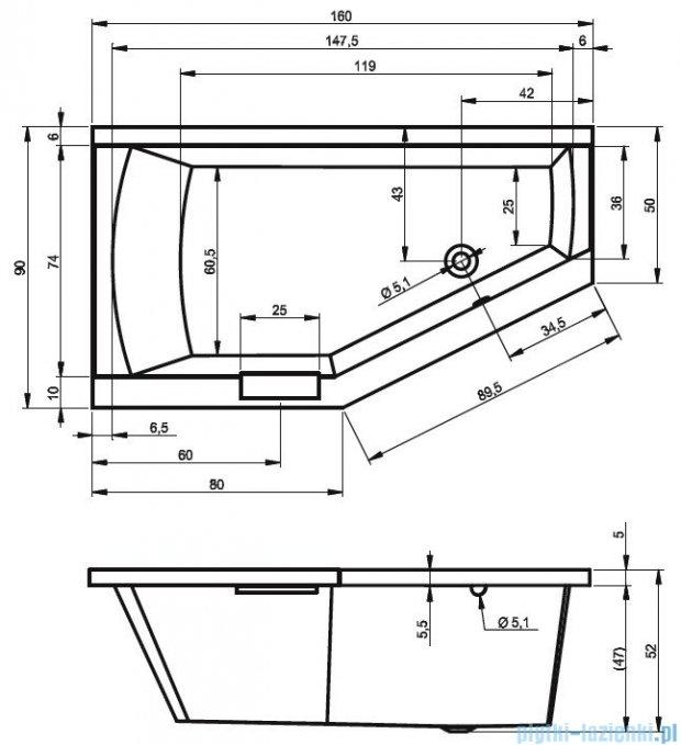 Riho Geta Wanna asymetryczna 160x90 prawa z hydromasażem TOP Aero11 BA86T1