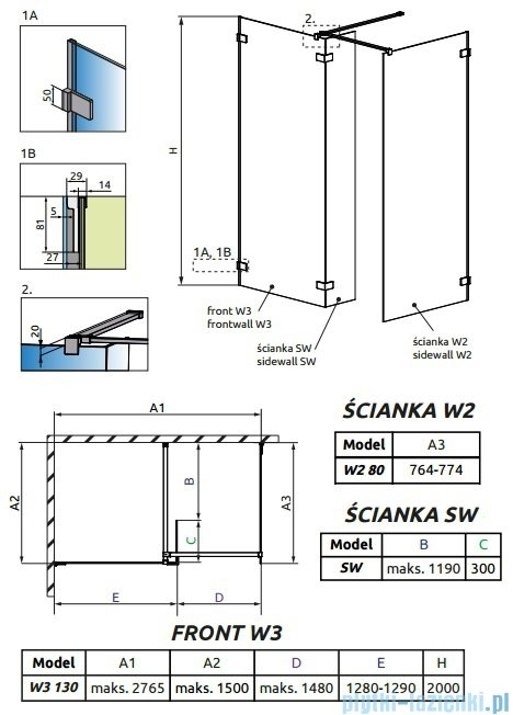 Radaway Euphoria Walk-in III kabina 130x80cm szkło przejrzyste 383135-01-01/383120-01-01/383160-01-01