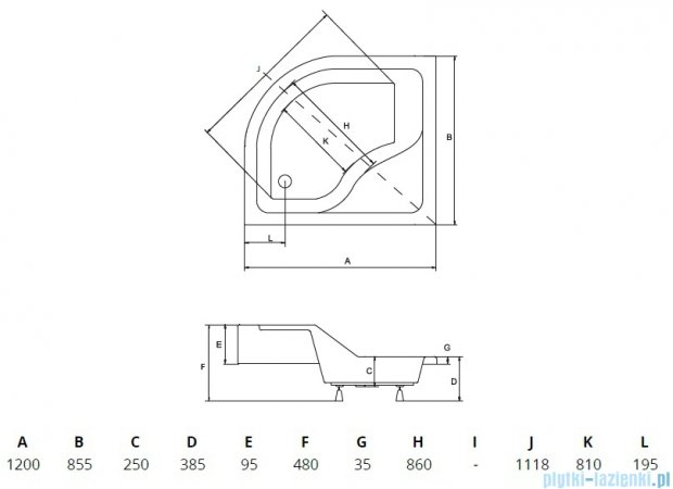 Piramida Maxi Brodzik 120x85cm asymetryczny z siedziskiem prawy