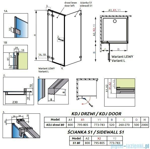 Radaway Euphoria KDJ Kabina prysznicowa 80x80 lewa szkło przejrzyste + brodzik Delos C + syfon 383043-01L/383051-01/SDC0808-01