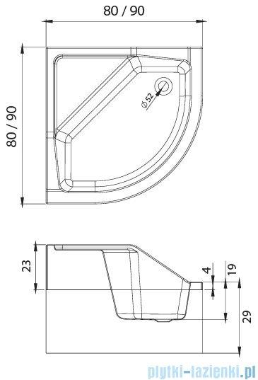 New Trendy Angus brodzik półokrągły z siedziskiem 90x90x29 cm B-0362