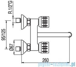 Tres Ese-23 Bateria zlewozmywakowa ścienna kolor chrom 1.23.210
