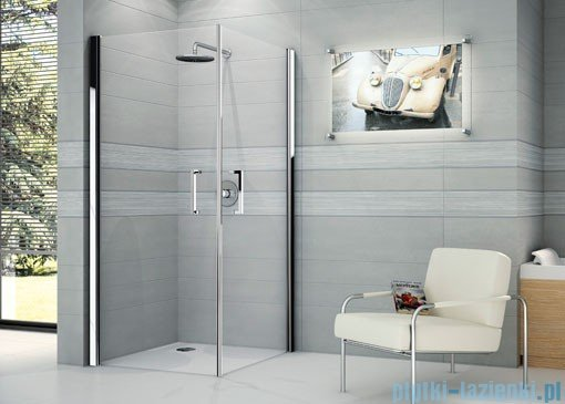 Novellini Ścianka prysznicowa GIADA 2G 75 cm lewa szkło przejrzyste profil biały GIADN2G75LS-1A