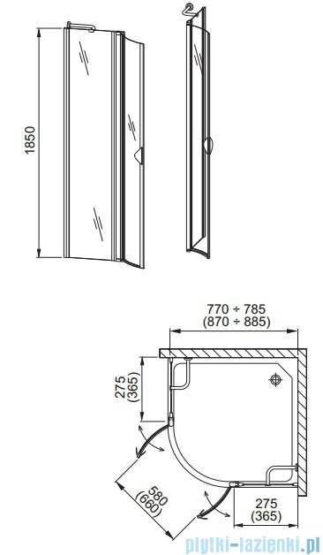 Aquaform Glass 5 kabina prysznicowa półokrągła 90cm szkło przejrzyste profil chrom 06363