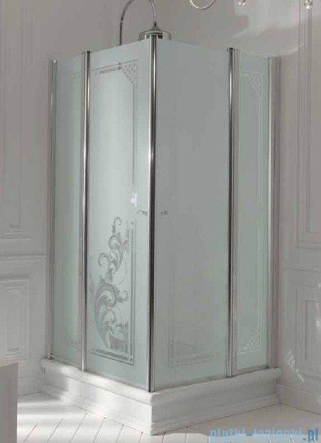 Kerasan Kabina kwadratowa szkło dekoracyjne przejrzyste profile brązowe 100x100 Retro 9148N3