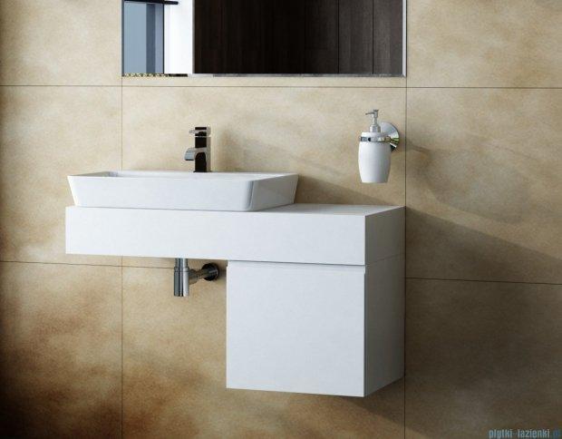Antado Combi szafka prawa z blatem lewym i umywalką Conti biały/ciemne drewno ALT-141/45-R-WS/dp+ALT-B/4-1000x450x150-WS+UCT-TP-37x59
