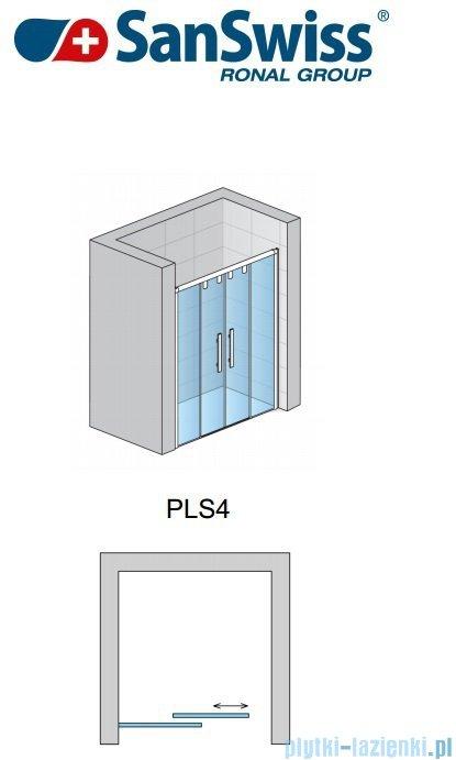 SanSwiss Pur Light S PLS4 Drzwi rozsuwane 150cm profil połysk szkło przejrzyste PLS41505007