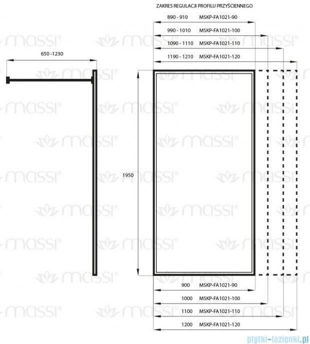 Massi Fix kabina prysznicowa walk In 110x195 cm przejrzyste MSKP-FA1021-110