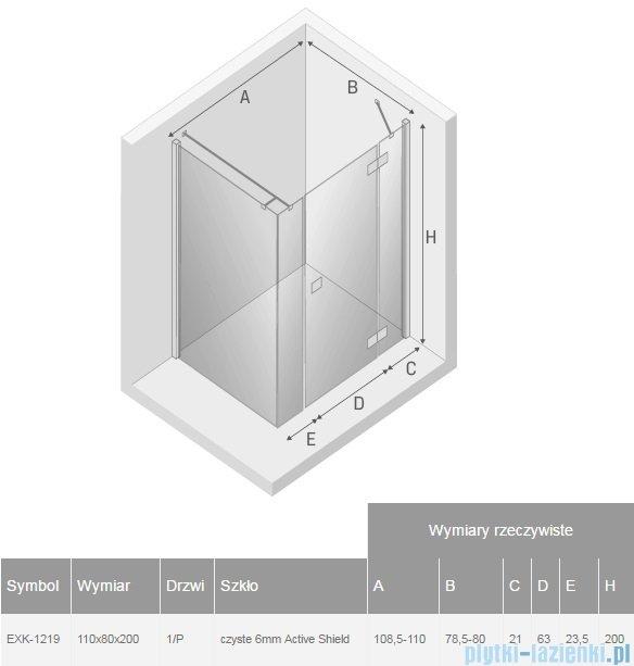 New Trendy Reflexa Plus 110x80x200 cm kabina prostokątna prawa przejrzyste EXK-1219