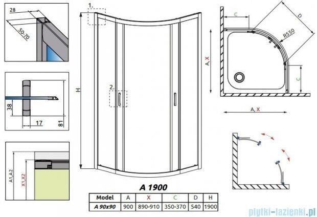 Radaway Premium Plus A Kabina półokrągła 90x90 szkło grafitowe 30403-01-05N