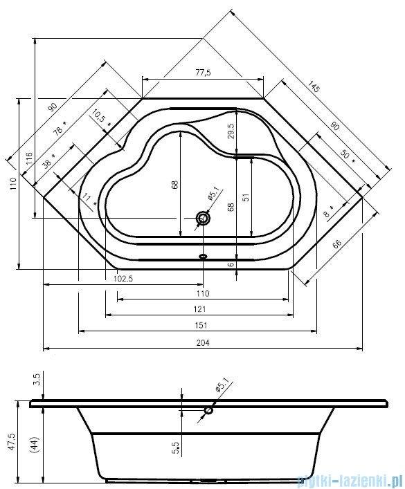 Riho Winnipeg wanna symetryczna 145x145 z hydromasażem TOP Aero11 BA48T1