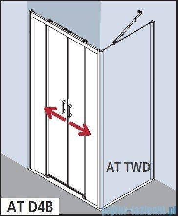 Kermi Atea Drzwi przesuwne bez progu, 4-częściowe, szkło przezroczyste z KermiClean, profile białe 140x185 ATD4B140182PK