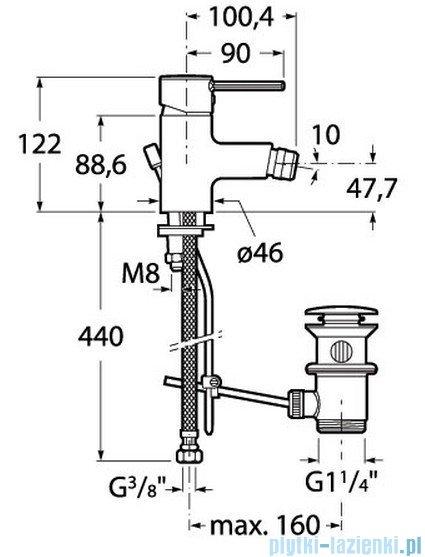 Roca Targa Bateria sztorcowa bidetowa chrom A5A6060C00