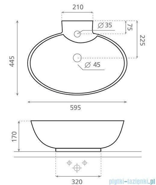 Bathco umywalka nablatowa Malaga 59,5x44,5 cm 0034