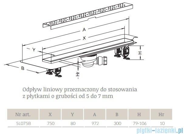 Radaway Quadro Odpływ liniowy 75x8cm 5L075B,5R075Q