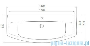 Cerastyle City K umywalka 130x52cm meblowa / ścienna 083900-u