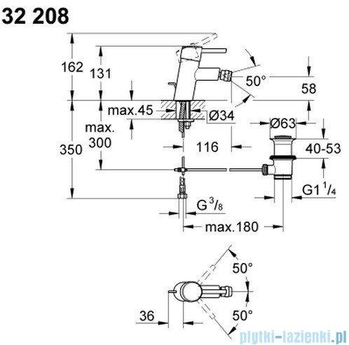 Grohe Concetto jednouchwytowa bateria bidetowa DN 15 32208001