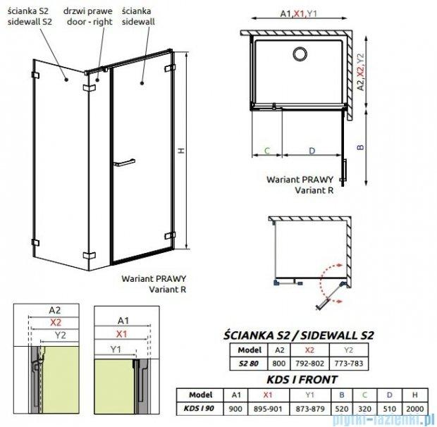 Radaway Arta Kds I kabina 90x80cm prawa szkło przejrzyste 386520-03-01R/386100-03-01R/386110-03-01
