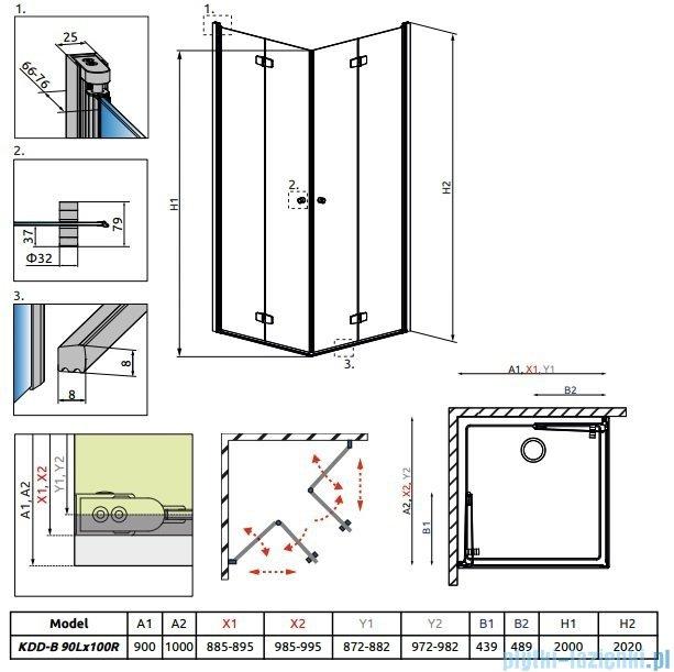 Radaway Fuenta New Kdd-B kabina 90x100cm szkło przejrzyste 384071-01-01L/384072-01-01R