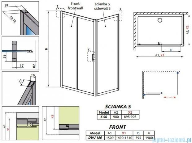 Radaway Premium Plus DWJ+S kabina prysznicowa 150x90cm szkło fabric 33343-01-06N/33403-01-06N