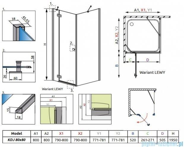 Radaway Almatea Kdj Kabina kwadratowa 80x80 Lewa szkło przejrzyste + Brodzik DELOS C 80 + syfon 32112-01-01NL