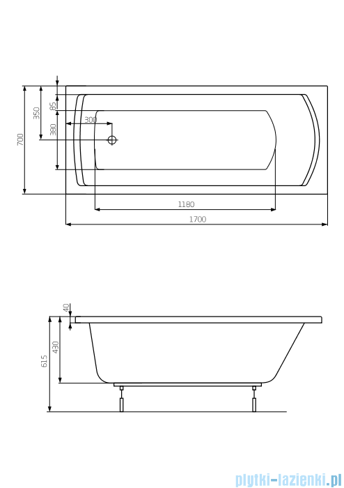 Roca Linea wanna 170x70cm z hydromasażem Smart Air Plus Opcja A24T036000