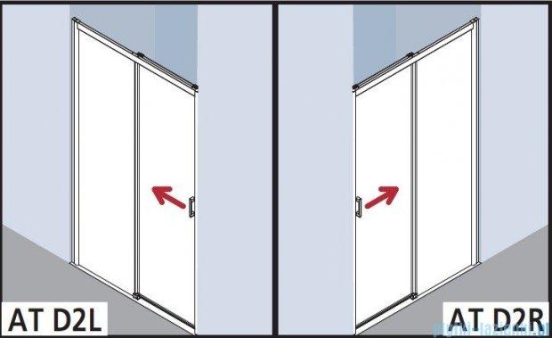 Kermi Atea Drzwi przesuwne bez progu, lewe, szkło przezroczyste, profile białe 110x185 ATD2L110182AK