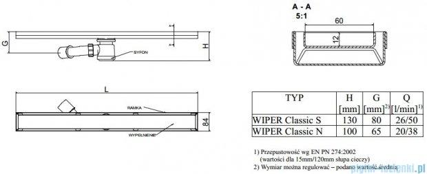 Wiper Odpływ liniowy Classic Mistral 80cm bez kołnierza szlif M800SCS100