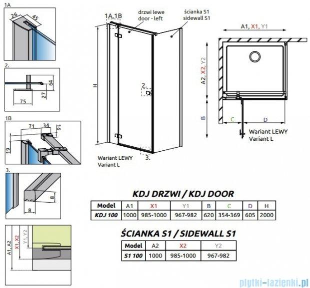 Radaway Fuenta New Kdj kabina 100x100cm lewa szkło przejrzyste 384040-01-01L/384052-01-01
