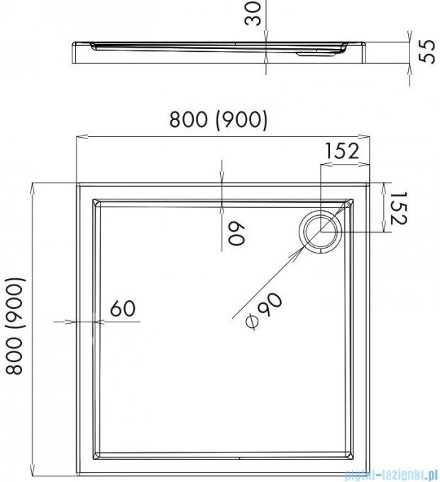 Alterna brodzik akrylowy kwadratowy 90x90x5,5 cm ALTN-952596