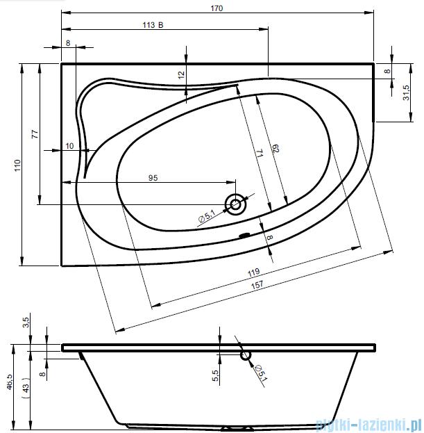 Riho Lyra wanna asymetryczna 170x110 prawa + nóżki + syfon BA63/07/AMC55